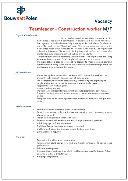 profile Teamleader construction workers BouwmetPolen